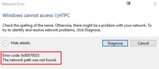 Windows 10 Error code 0x80070035