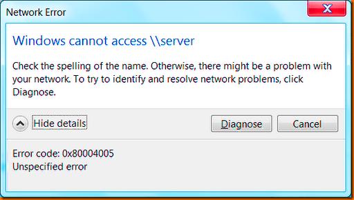 Windows Error Code 0x80004005