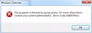 Windows Error Code 0x800704ec