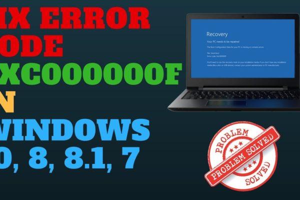 HP Laptop Error Code 0xc00000f