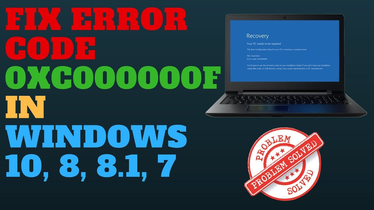 HP Laptop Error Code 0xc00000f