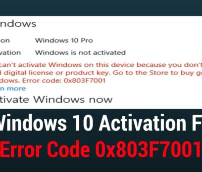 Fix Windows Error Code 0x803f7001