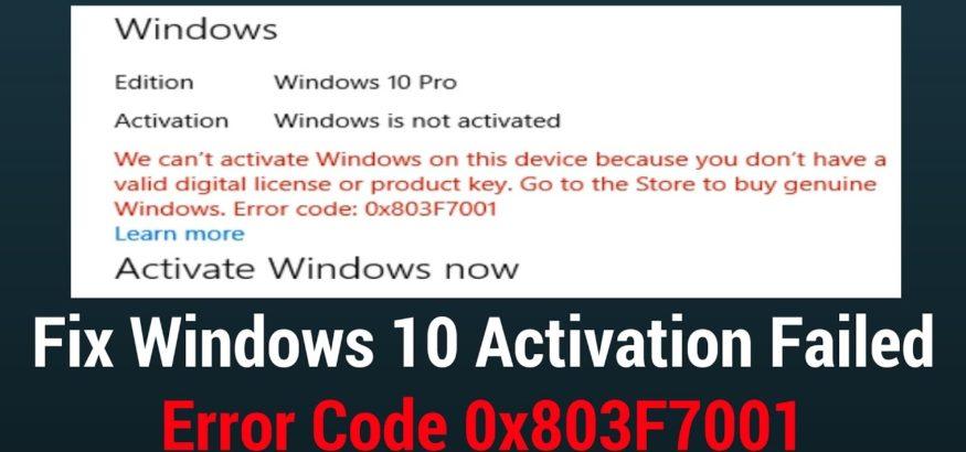Fix Windows Error Code 0x803f7001