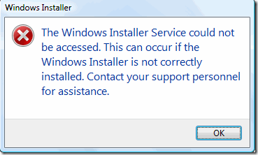 Check that Windows Installer service is the Automatic